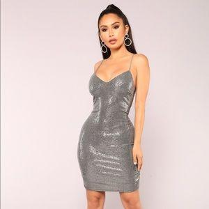 Fashion Nova silver sequin Dress